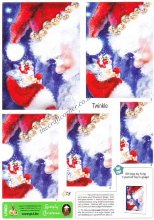 Twinkle Fairy & Father Christmas Pyramid Die Cut 3d Decoupage Sheet